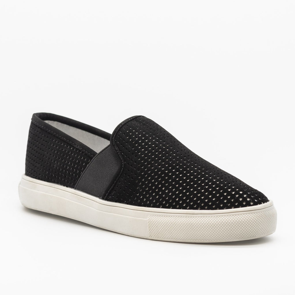 Womens Trendy Mesh Slip-On Sneakers - Soho Girls - Black / 5