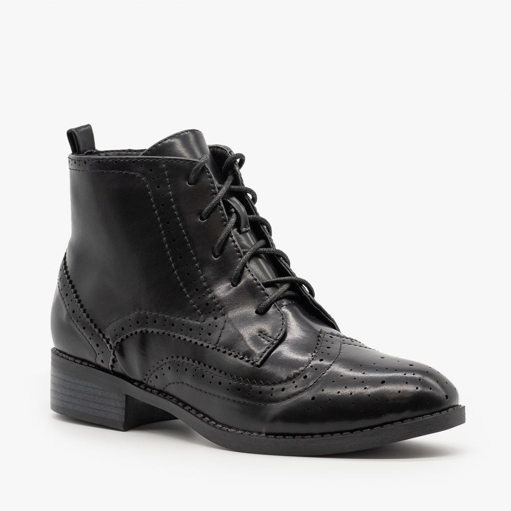 Womens Trendy Oxford Boots - Shoetopia - Black / 5
