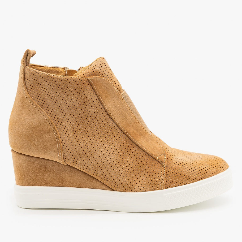 Womens Trendy Pinhole Sneaker Wedges - CCOCCI - Camel / 5