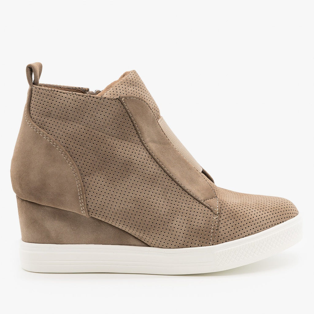 Womens Trendy Pinhole Sneaker Wedges - CCOCCI - Taupe / 5
