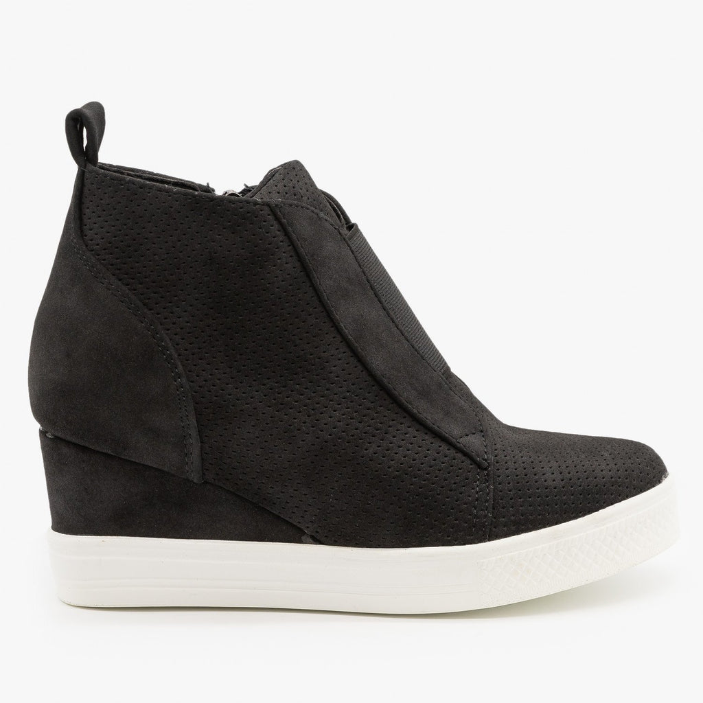 Womens Trendy Pinhole Sneaker Wedges - CCOCCI - Black / 5
