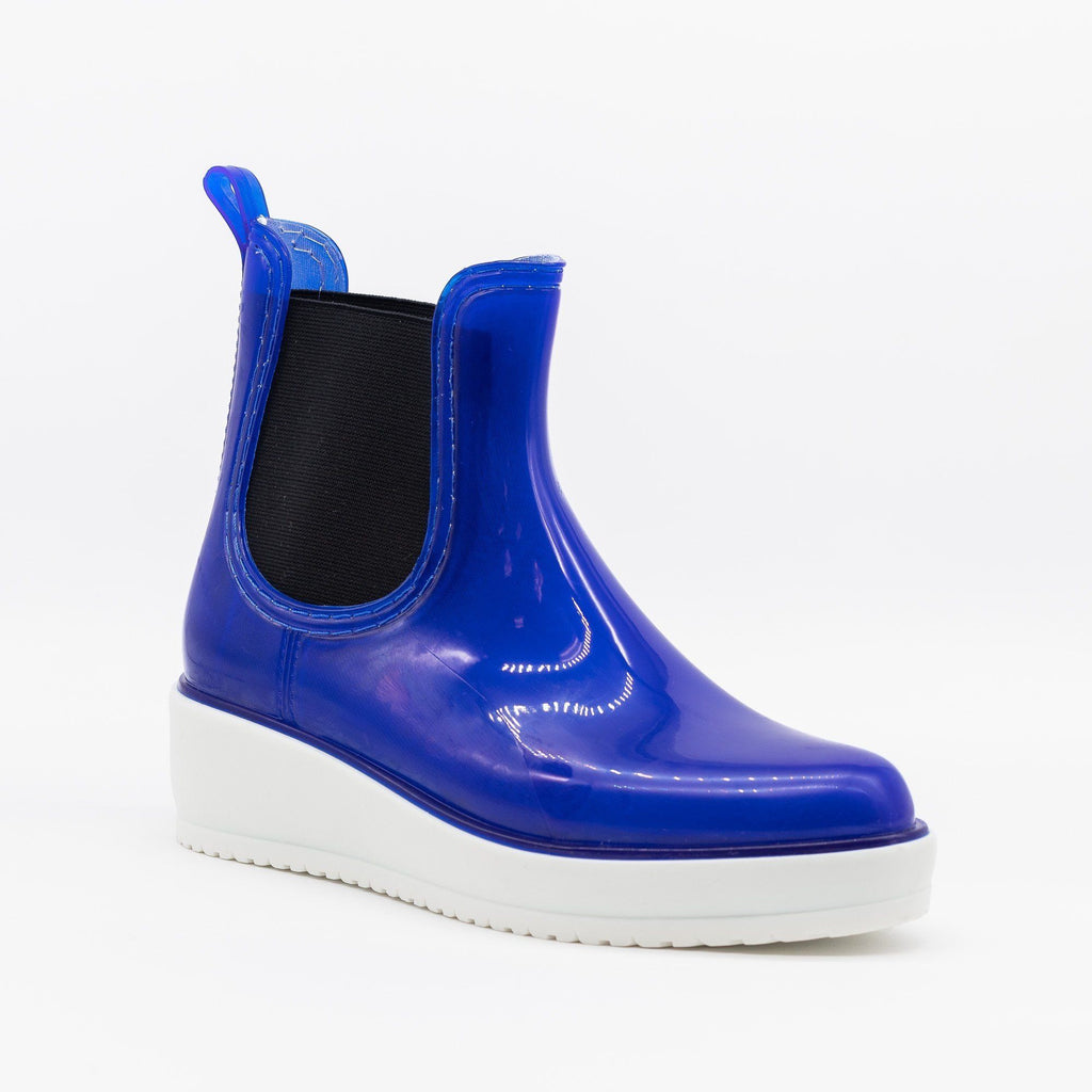 Womens Trendy Rainboot Sneakers - Qupid Shoes - Blue / 5