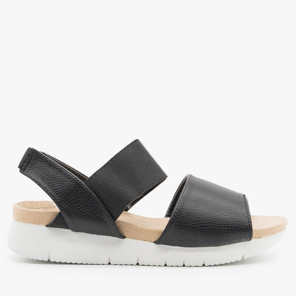 Women's Trendy Slingback Comfort Sandals - Refresh - Black / 5