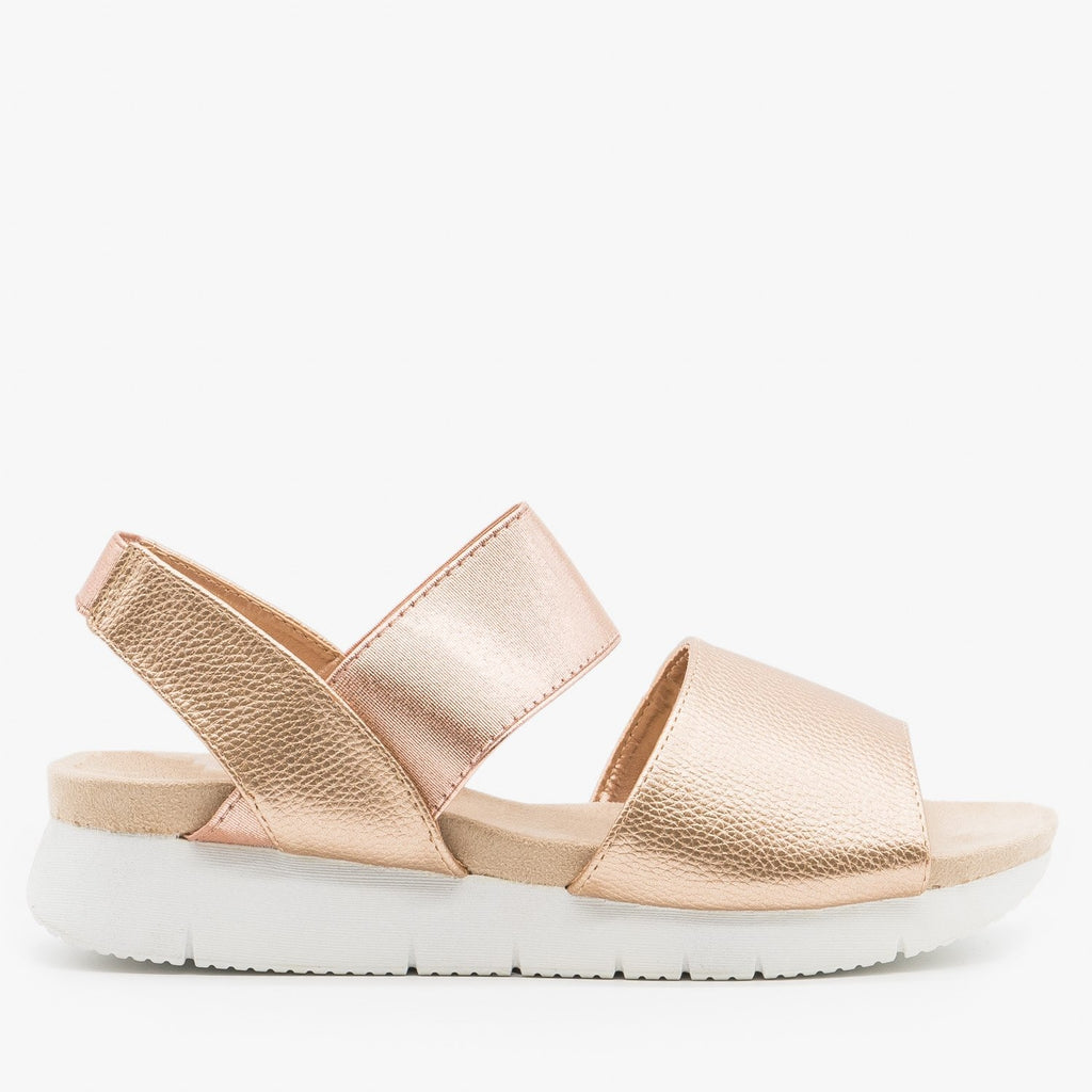Women's Trendy Slingback Comfort Sandals - Refresh - Rose Gold / 5