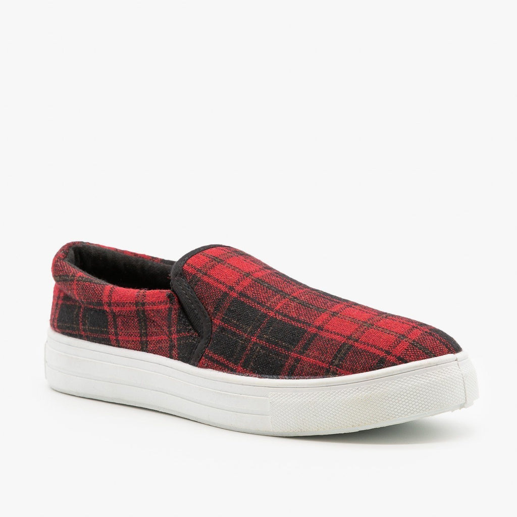 Womens Trendy Slip-On Sneakers - Qupid Shoes - Red Multi / 5