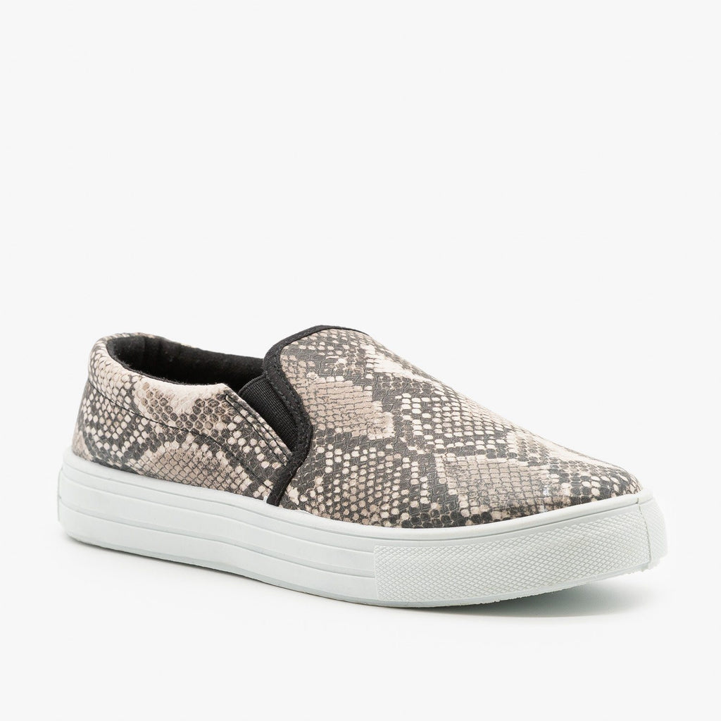Womens Trendy Slip-On Sneakers - Qupid Shoes - Beige Brown Snake / 5