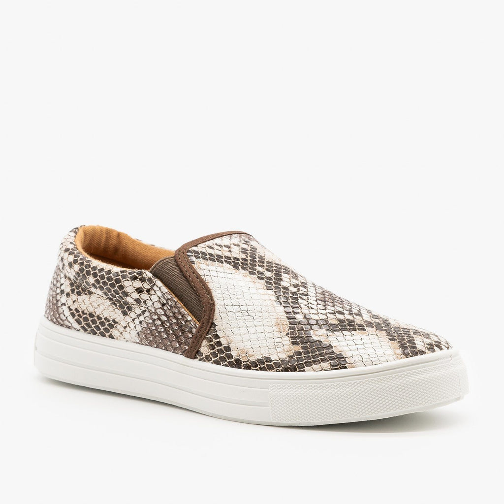 Womens Trendy Slip-On Sneakers - Qupid Shoes - Brown White Snake / 5