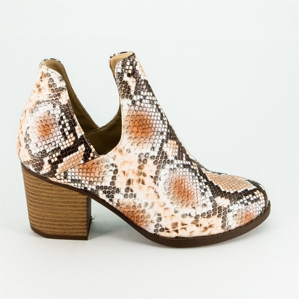 Women's Trendy Snake Print Booties - Mata - Orange Multi / 5