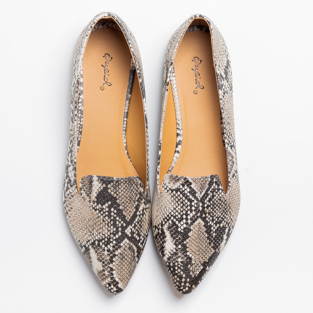 Womens Trendy Snake Print Loafer Flats - Qupid Shoes - Snake / 5