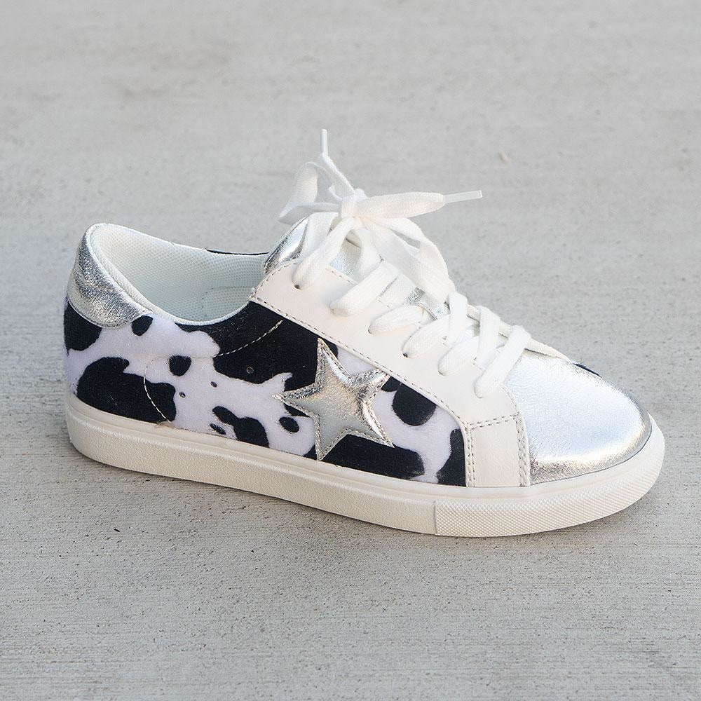 Women's Trendy Star Printed Sneakers - Unbranded/Generic - Silver Cow / 5
