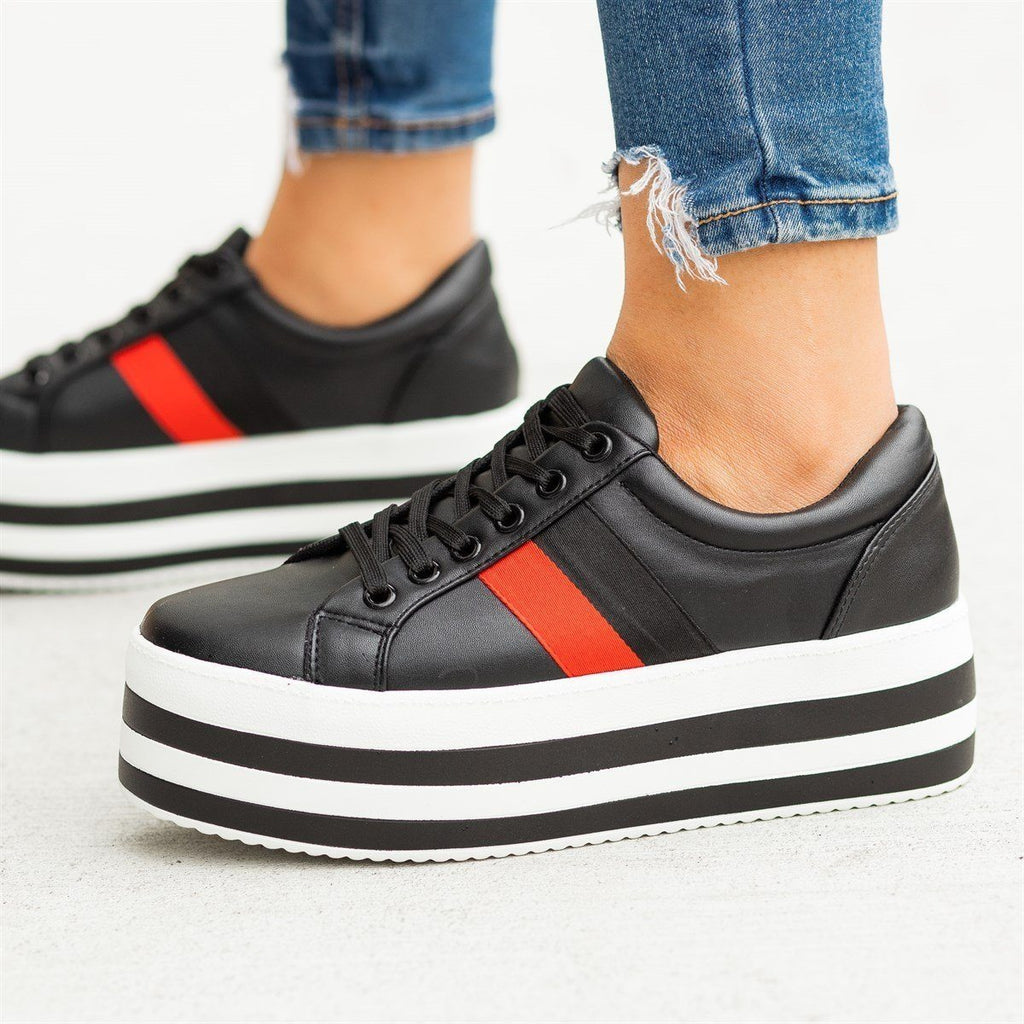 Womens Trendy Striped Platform Sneakers - Weeboo