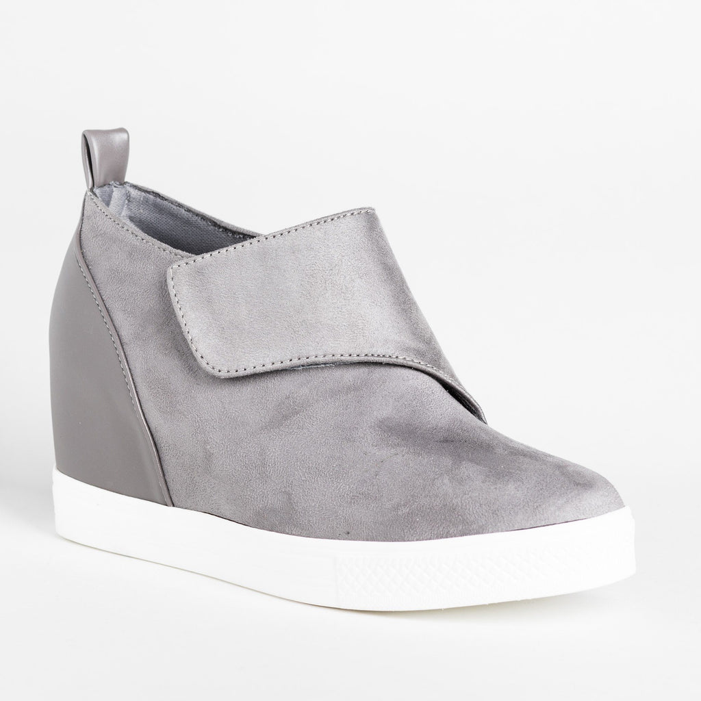 Womens Trendy Velcro Sneaker Wedges - CCOCCI - Gray / 5