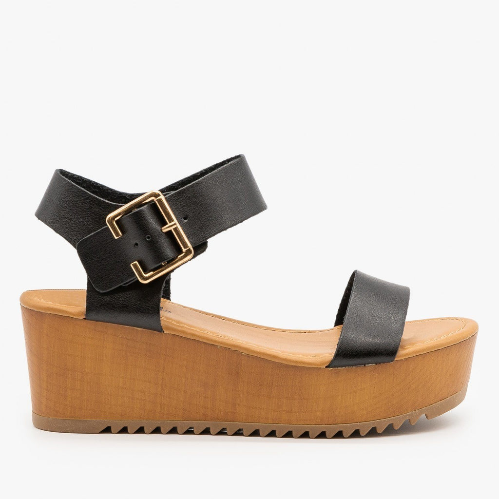 Womens Trendy Wooden Wedges - Soda Shoes - Black / 5
