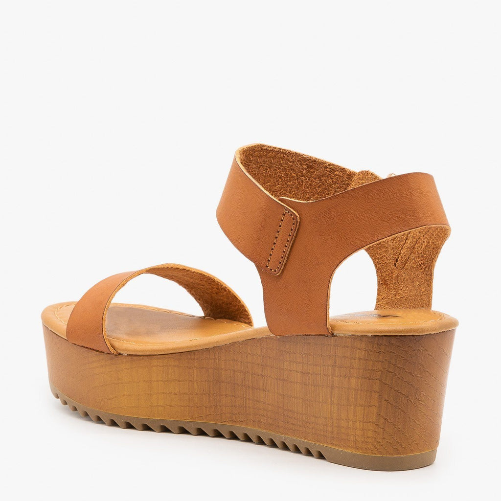 Womens Trendy Wooden Wedges - Soda Shoes