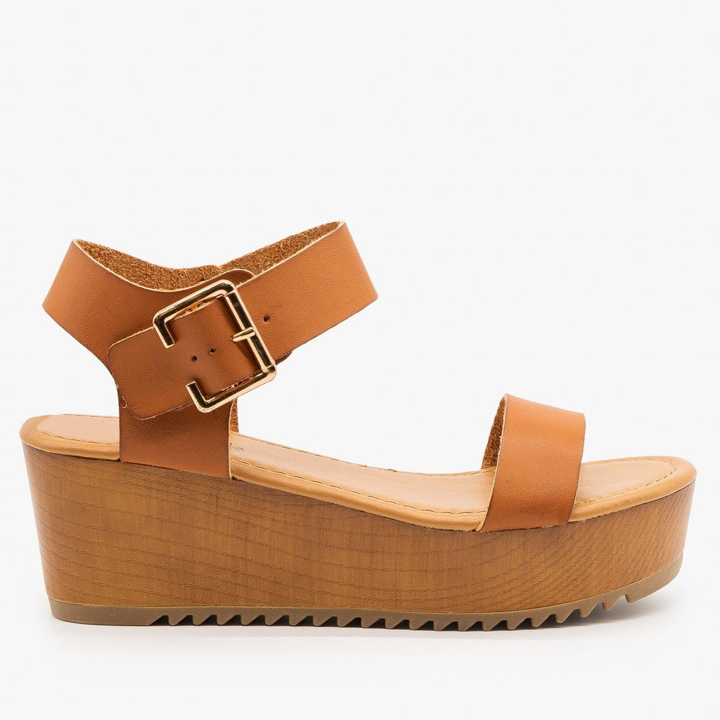 Womens Trendy Wooden Wedges - Soda Shoes - Tan / 5