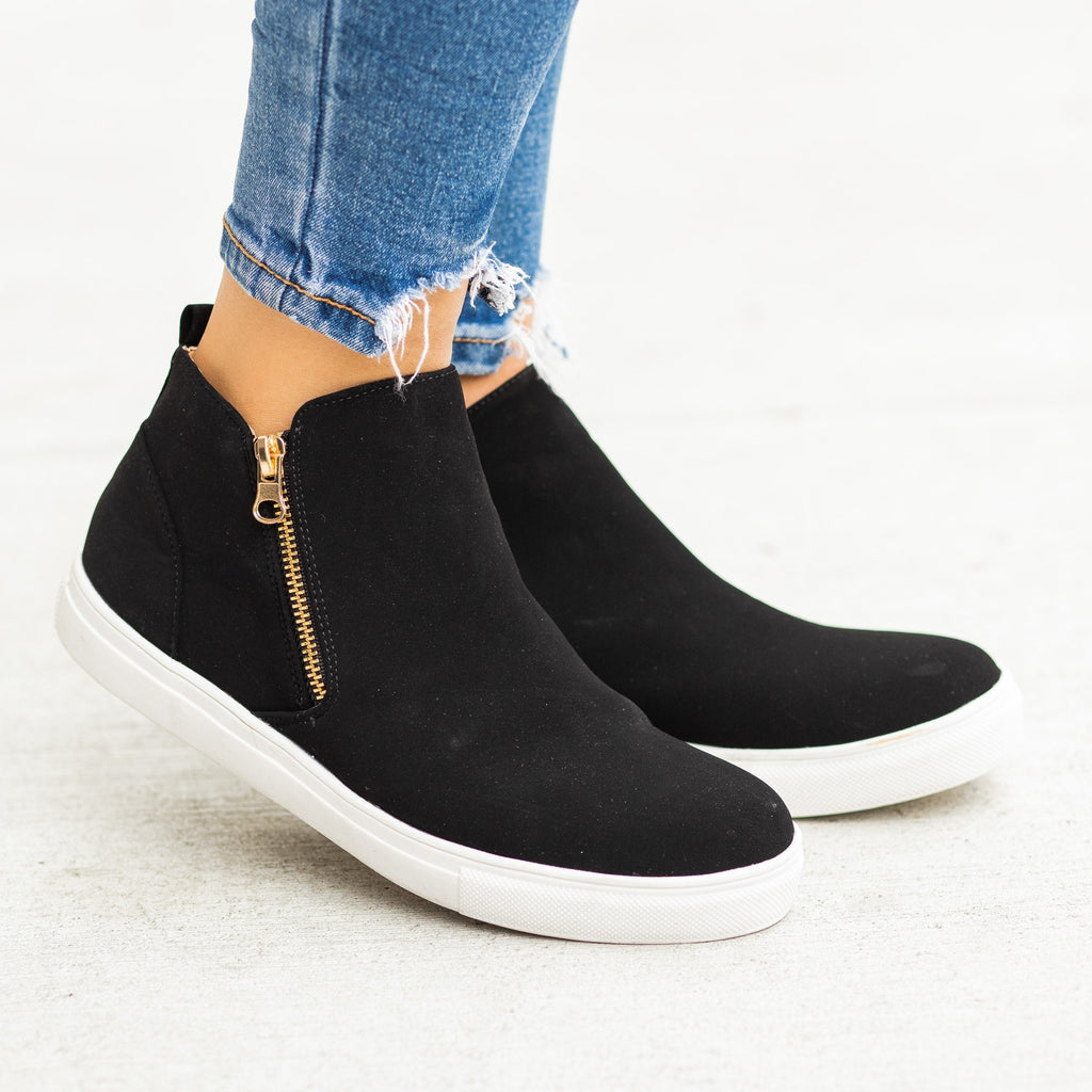 Womens Trendy Zip-Up Ankle Sneakers - Anna Shoes - Black / 5