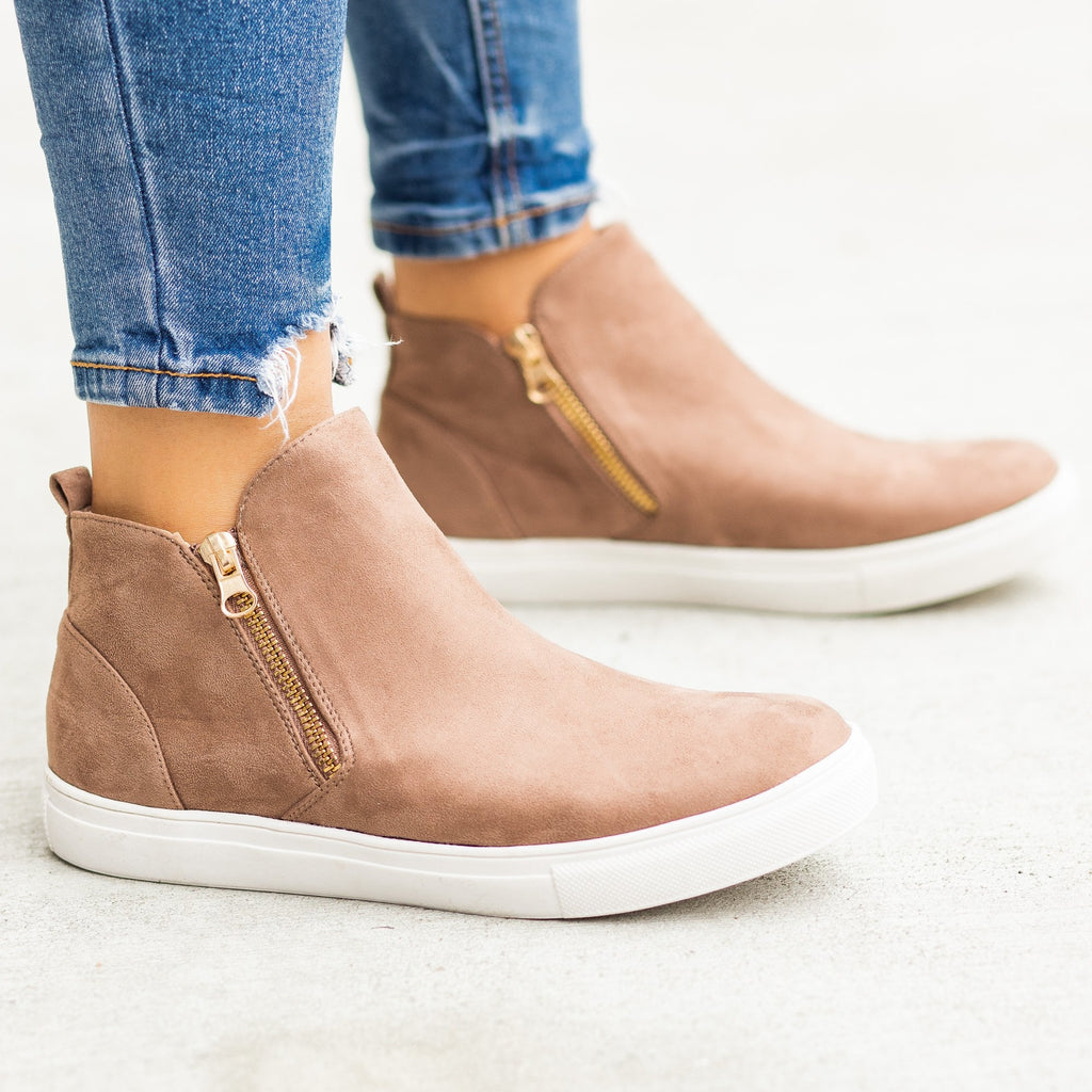Womens Trendy Zip-Up Ankle Sneakers - Anna Shoes