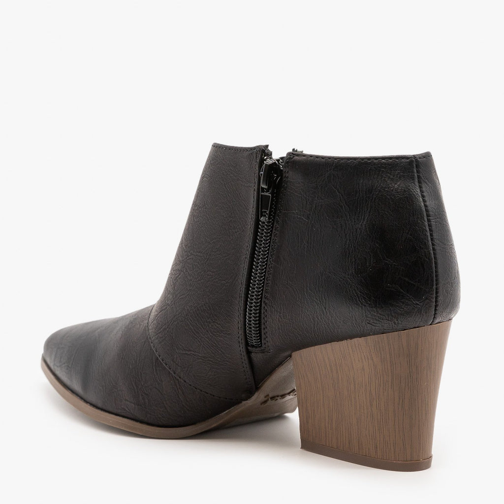 Womens Triangle Cut Out Ankle Booties - Qupid Shoes