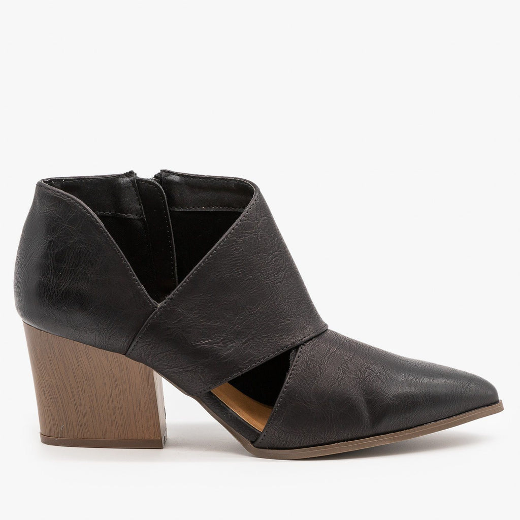 Womens Triangle Cut Out Ankle Booties - Qupid Shoes - Black / 5