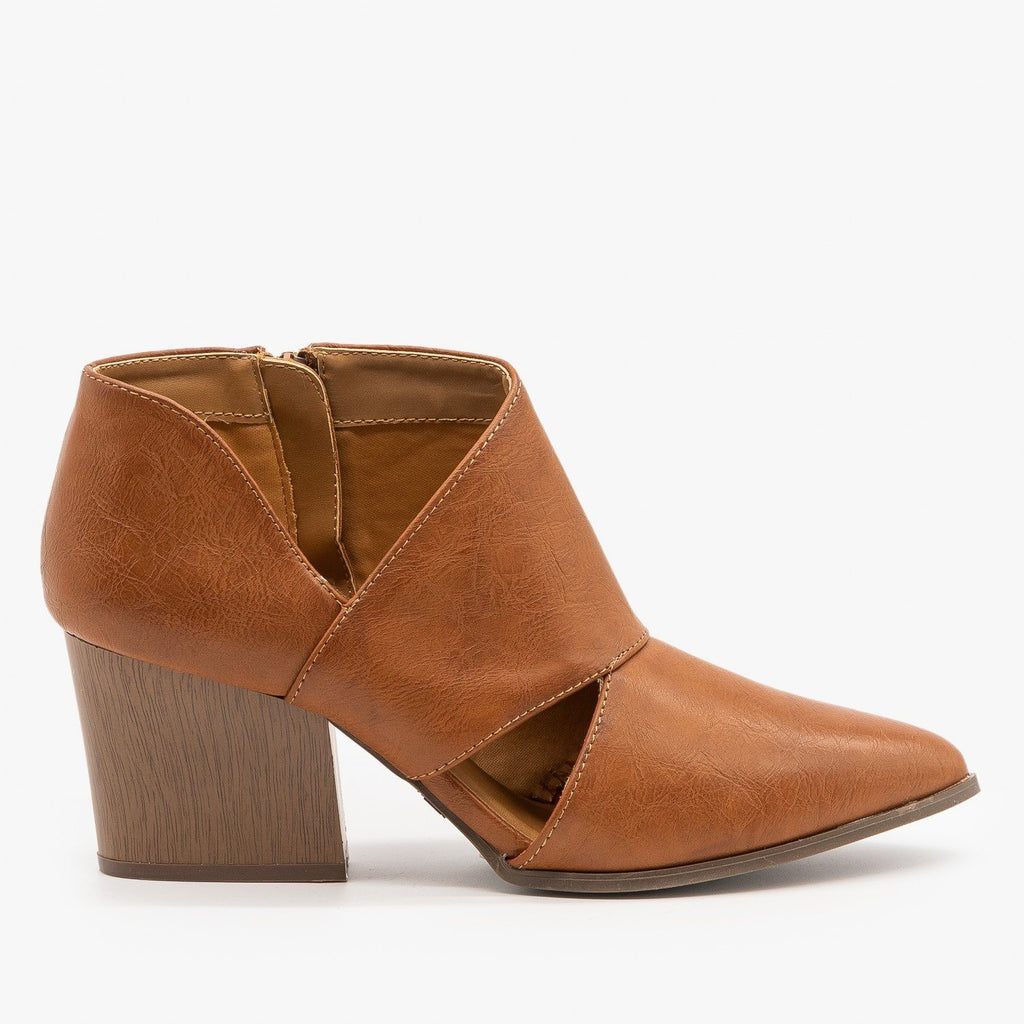 Womens Triangle Cut Out Ankle Booties - Qupid Shoes - Cognac / 5