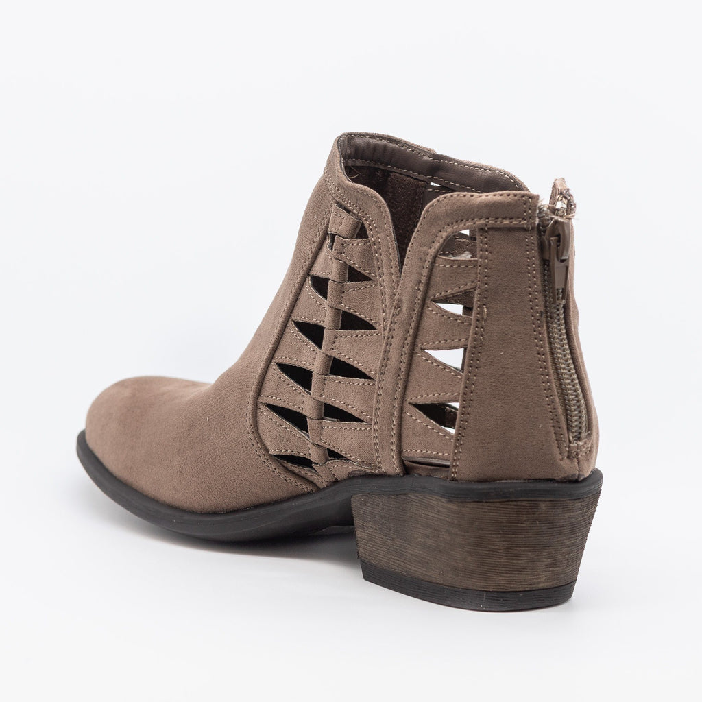 Womens Triangle Pattern Fashion Ankle Booties - Bamboo Shoes