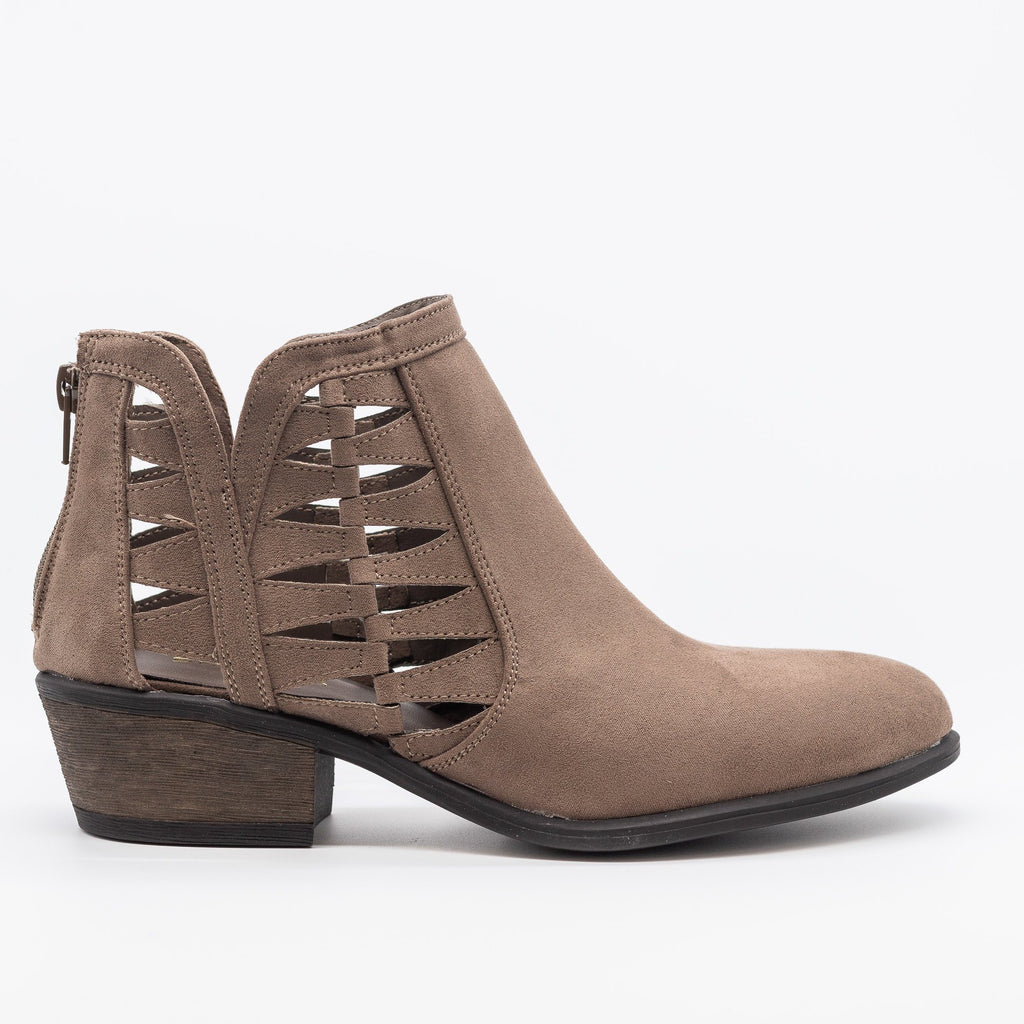 Womens Triangle Pattern Fashion Ankle Booties - Bamboo Shoes - Taupe / 5