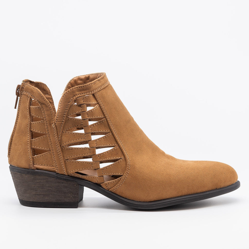 Womens Triangle Pattern Fashion Ankle Booties - Bamboo Shoes - Tan / 5