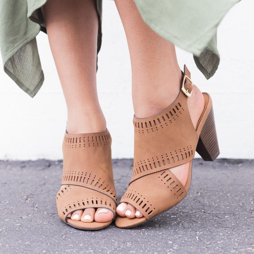 Womens Tribal Cut-Out Sling-Back Chunky Heels - Qupid Shoes