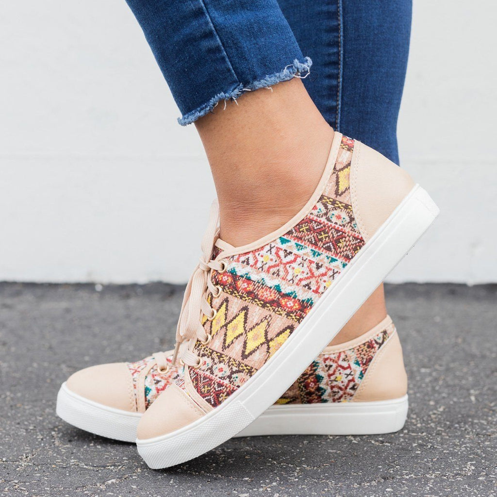 Womens Tribal Fashion Lace-Up Sneakers - Reneeze Shoes