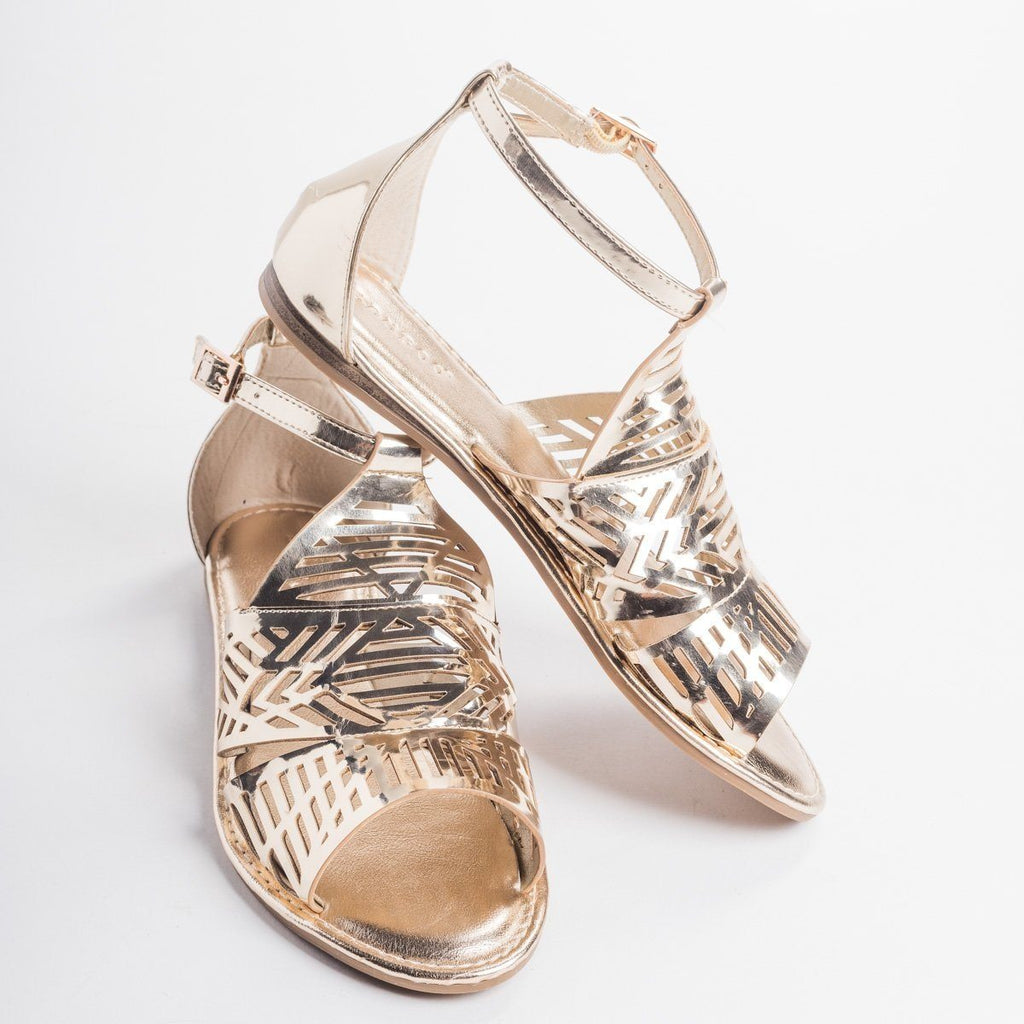 Womens Tribal Laser Cut Sandal - Bamboo Shoes - Gold / 5