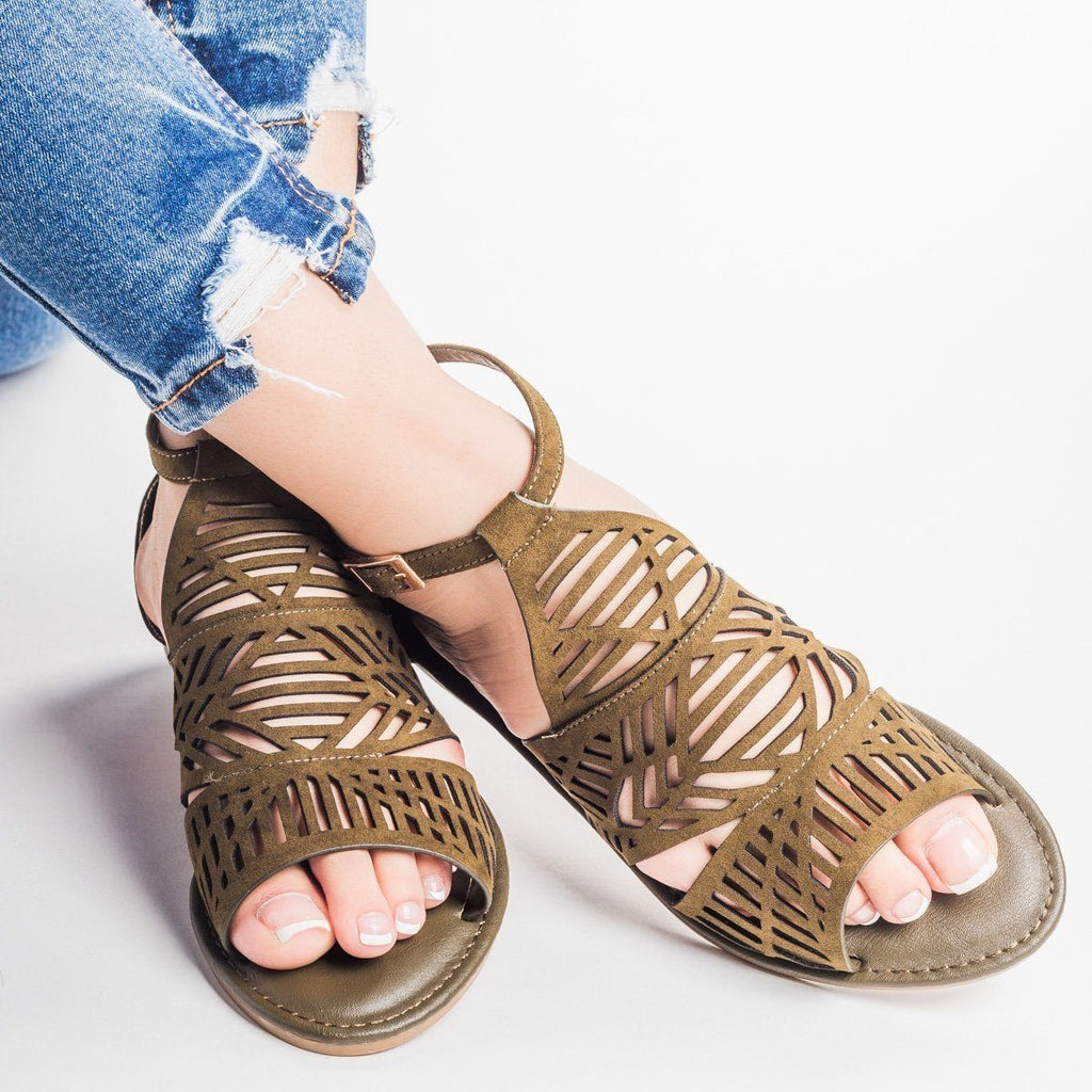 Womens Tribal Laser Cut Sandal - Bamboo Shoes - Olive / 6