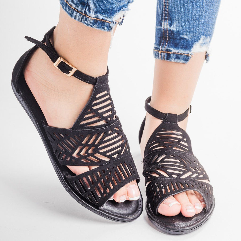 Womens Tribal Laser Cut Sandal - Bamboo Shoes - Black / 6.5