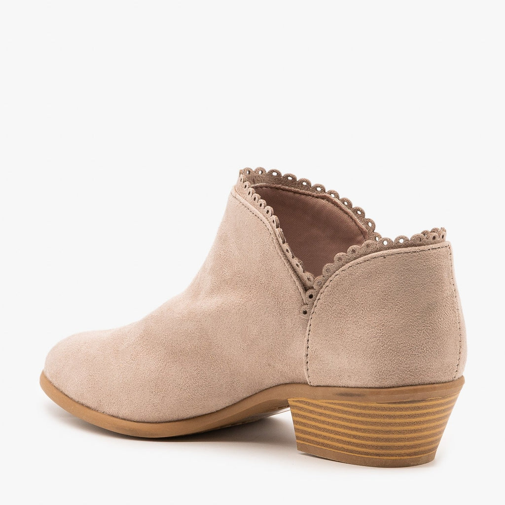 Womens Trimmed Ankle Booties - Qupid Shoes