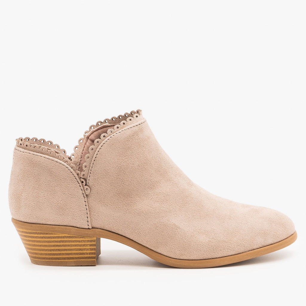 Womens Trimmed Ankle Booties - Qupid Shoes - Taupe / 5