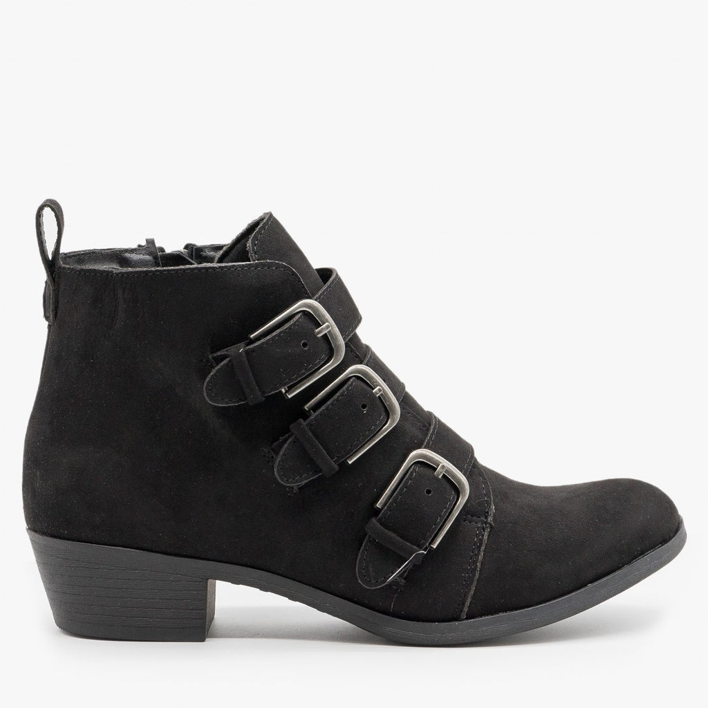 Womens Triple-Buckle Booties - Shoelala - Black / 5