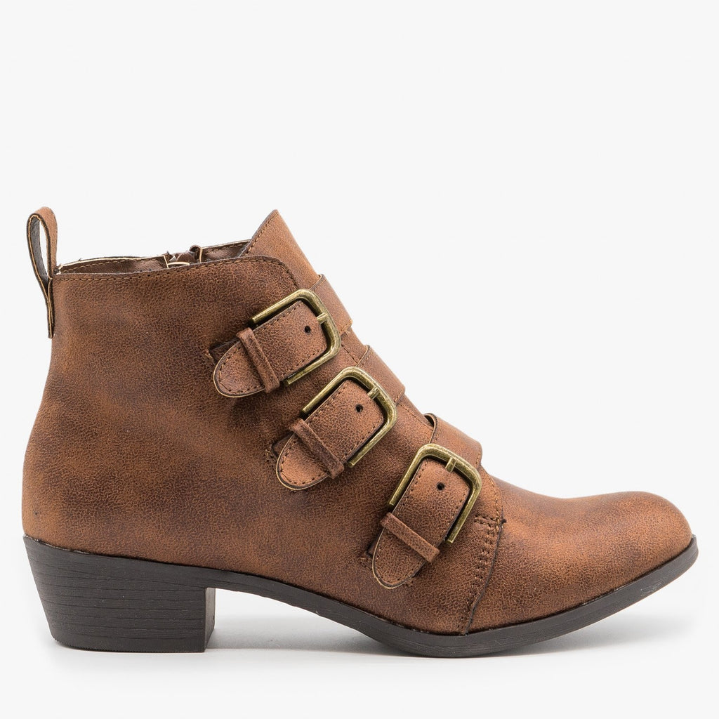 Womens Triple-Buckle Booties - Shoelala - Brown / 5