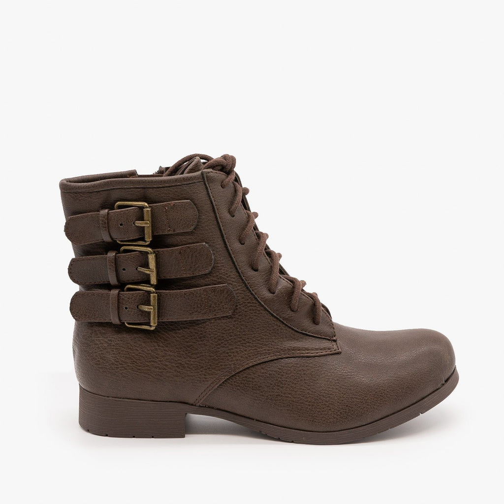 Womens Triple Buckle Booties - Soda Shoes - Dark Brown / 5
