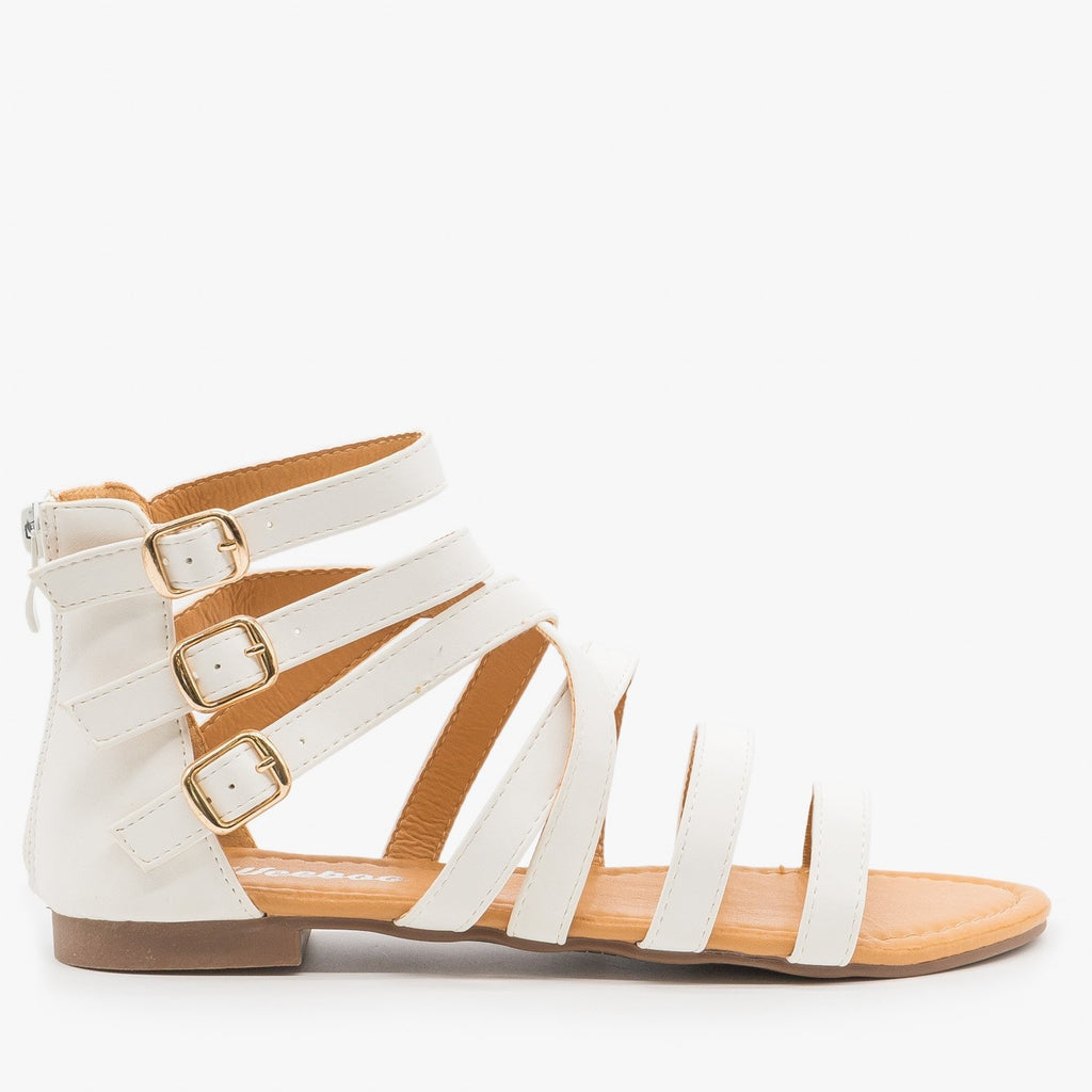 Women's Triple Buckle Gladiator Sandals - Weeboo - White / 5