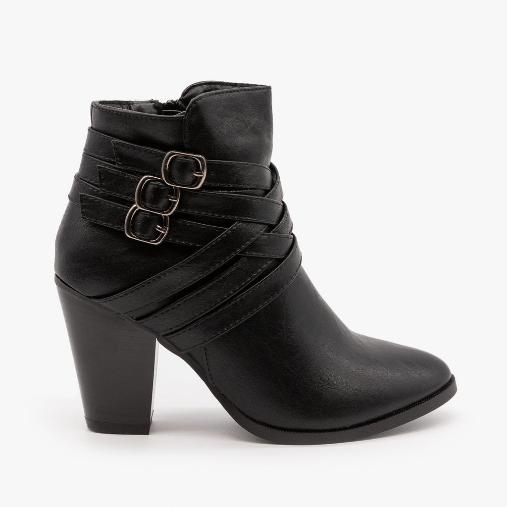 Womens Triple Buckle High Heel Bootie - Forever - Black / 5
