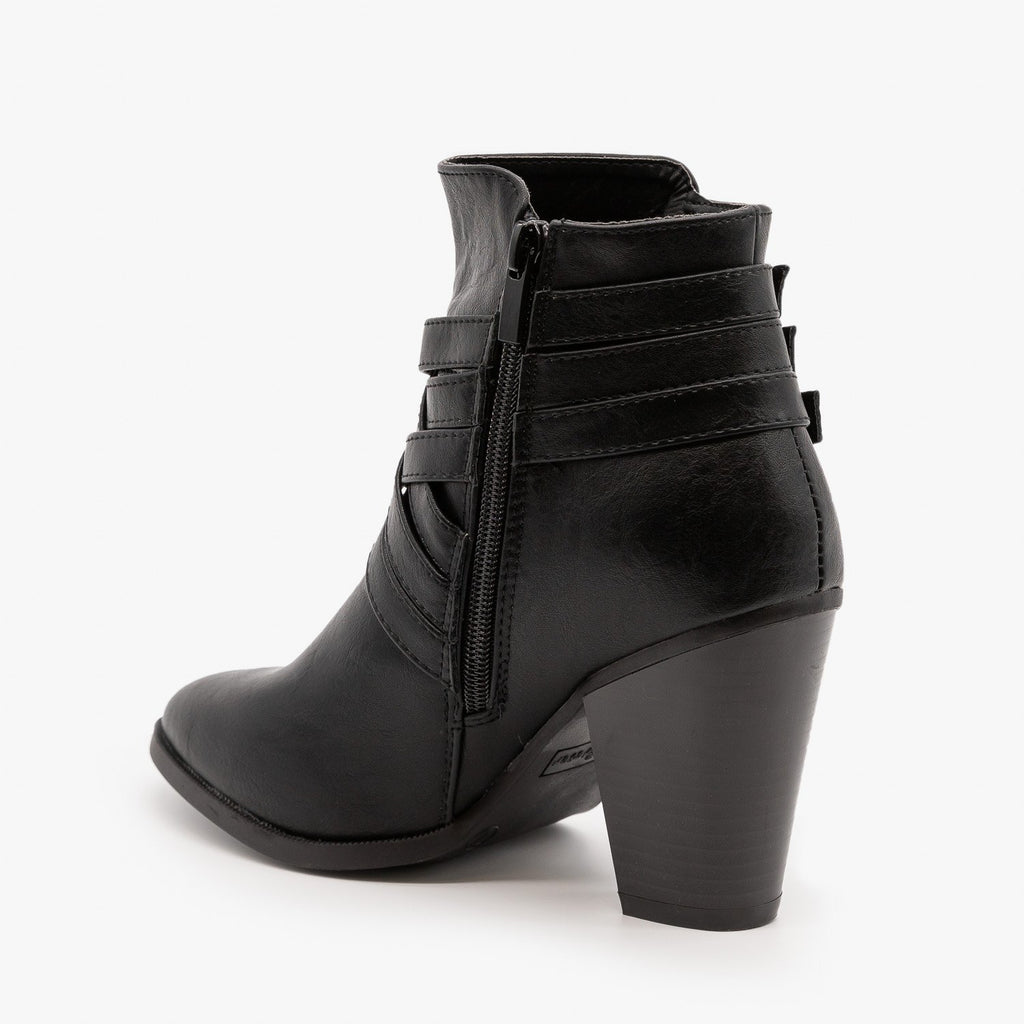 Womens Triple Buckle High Heel Bootie - Forever