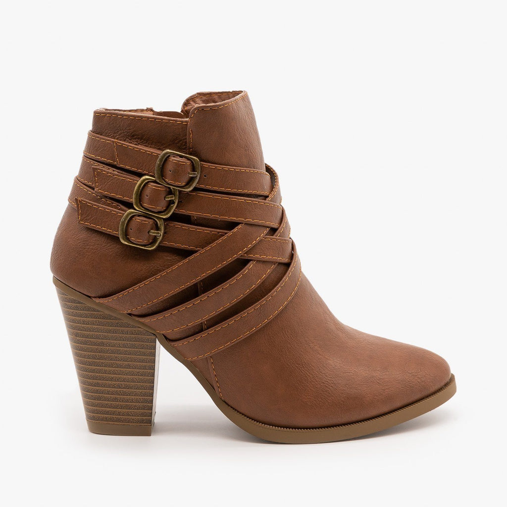 Womens Triple Buckle High Heel Bootie - Forever - Tan / 5