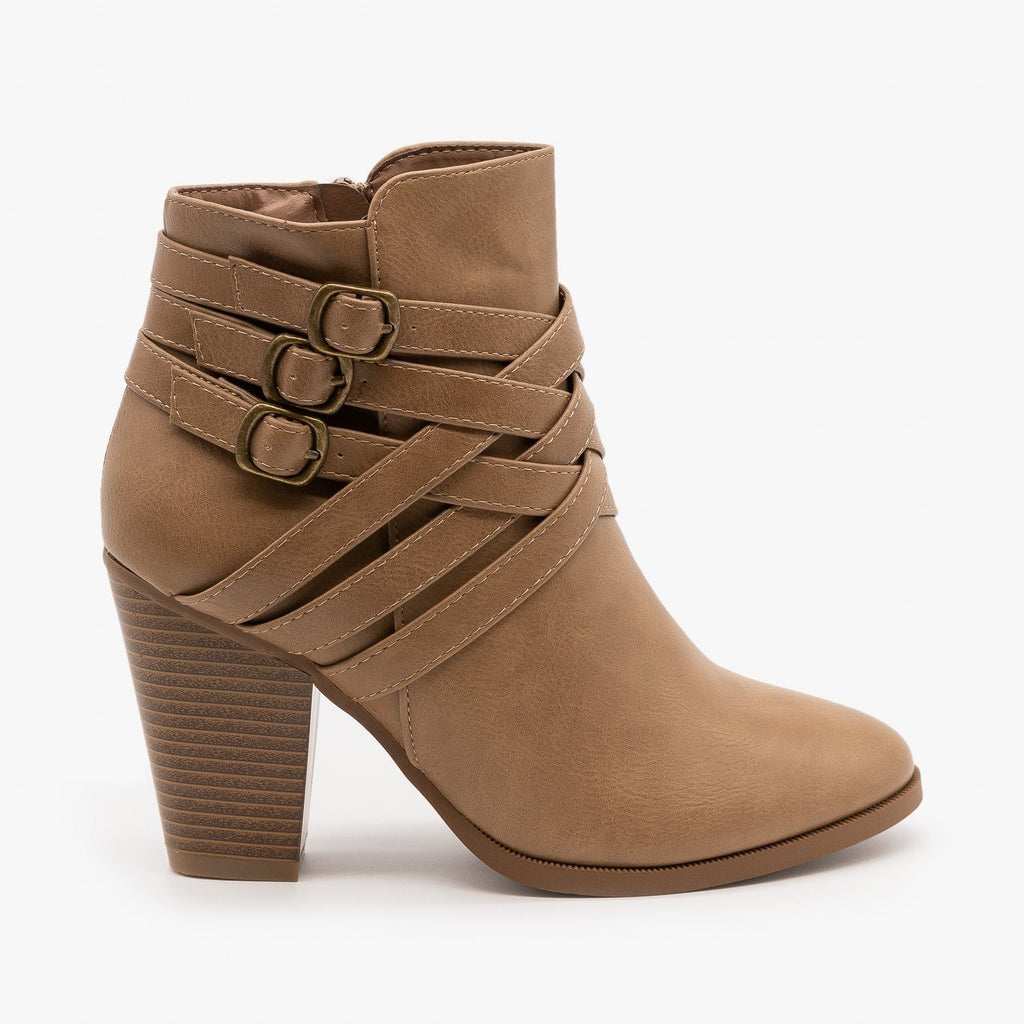 Womens Triple Buckle High Heel Bootie - Forever - Taupe / 5