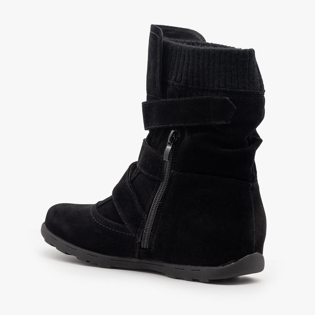 Womens Triple Buckle Mid-Calf Boots - Refresh