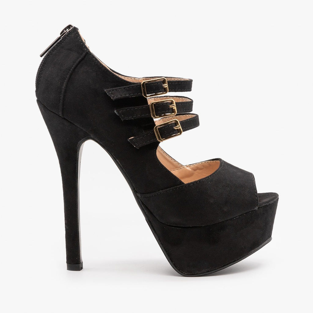 Womens Triple Buckle Platform Stiletto Heels - Bella Marie - Black / 5