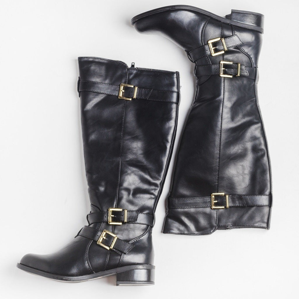 Womens Triple Buckle Riding Boots - Soda Shoes