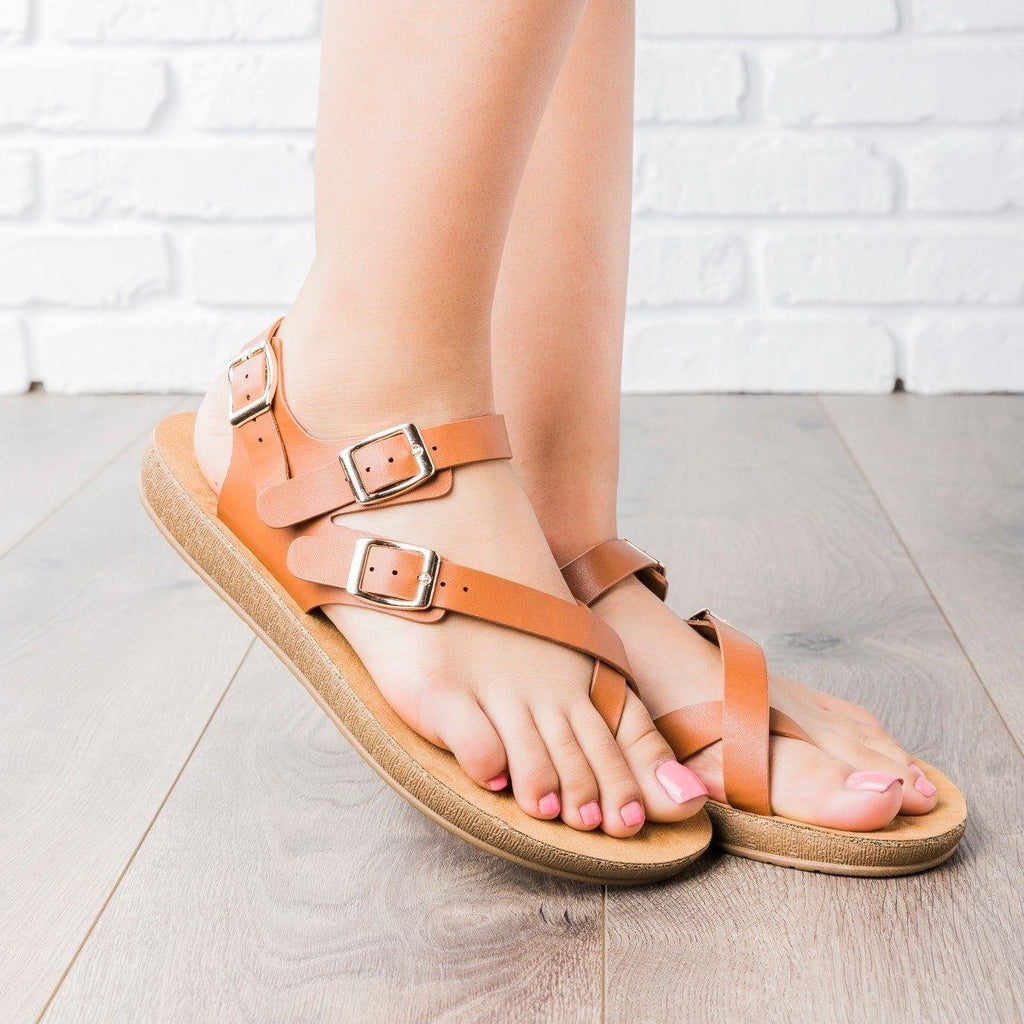 Womens Triple Buckle Summer Sandals - Anna Shoes - Chestnut / 5