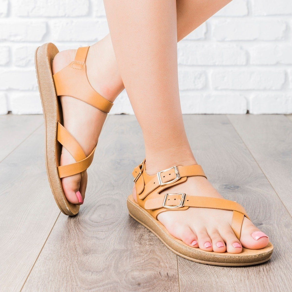 Womens Triple Buckle Summer Sandals - Anna Shoes
