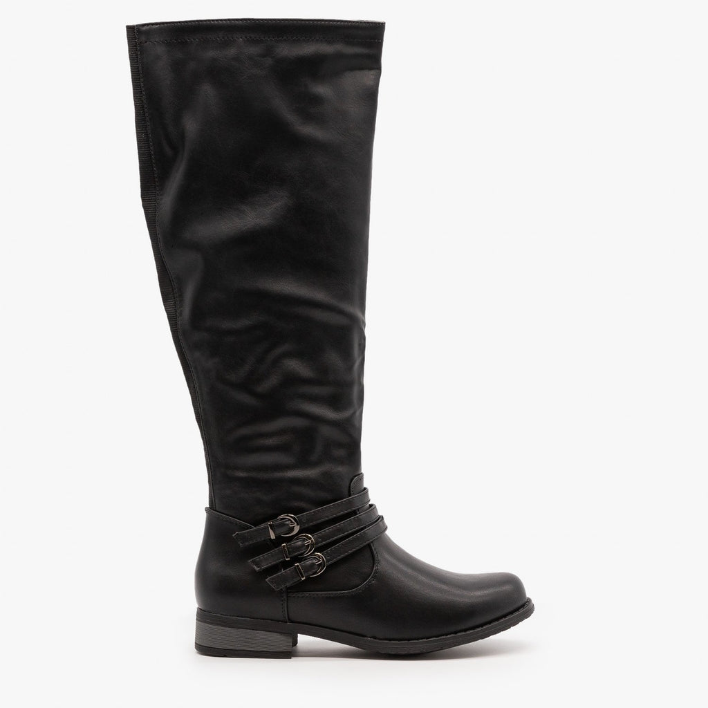 Womens Triple Buckled Strap Riding Boots - Refresh - Black / 5