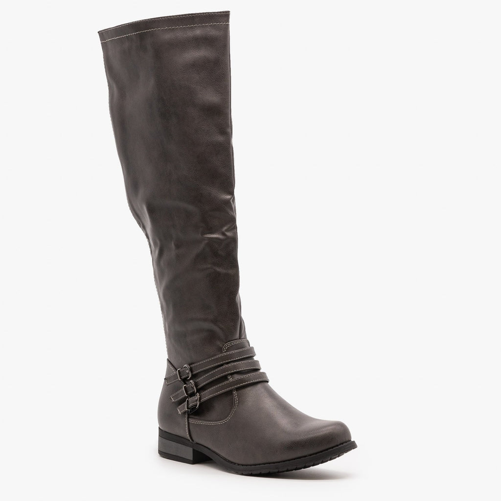 Womens Triple Buckled Strap Riding Boots - Refresh