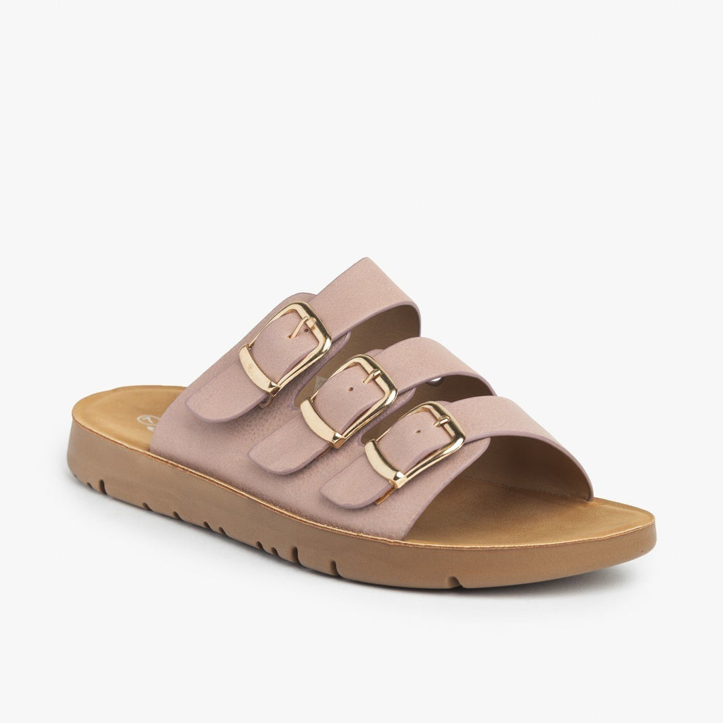 Womens Triple Strap Buckled Sandals - Forever - Pink / 5
